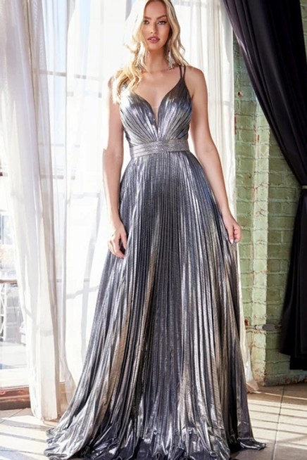 A-Line Pleated Metallic Long Dress