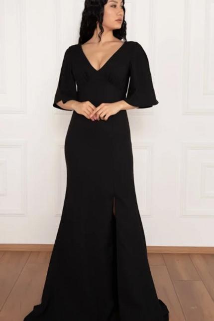 V-Neck Short Sleeve Leg Slit A-Line Dress