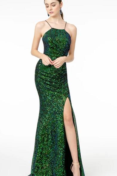 Square Neck Sequined Leg Slit Dress