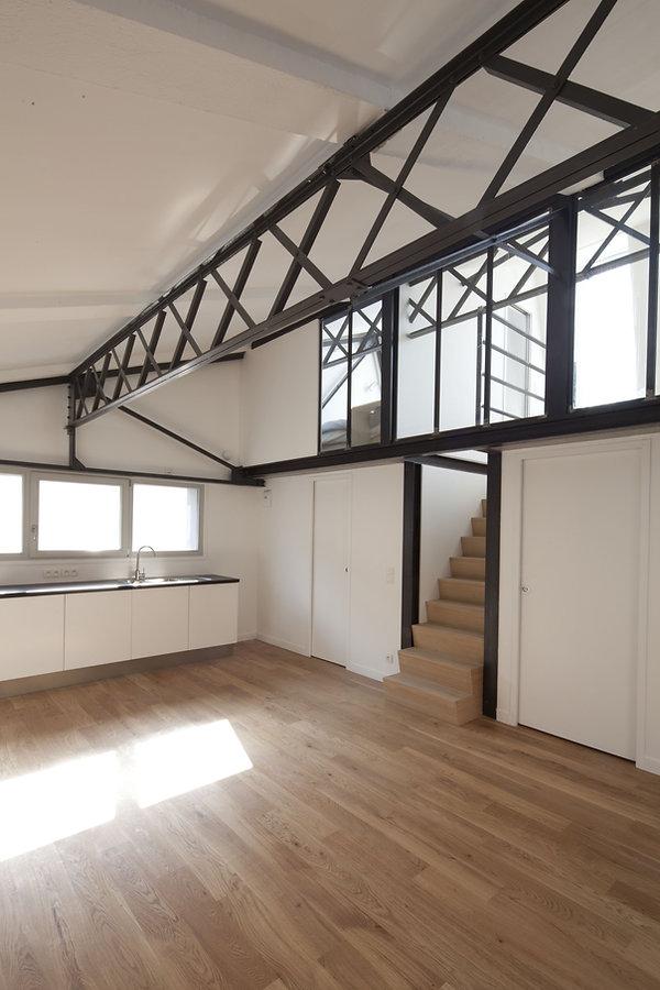 Restauration, surélévation, mezzanine, cloison vitrée d'intérieur