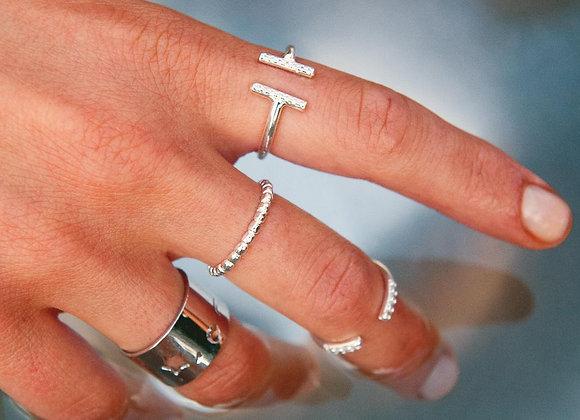 Anello argento barre parallele con zirconi