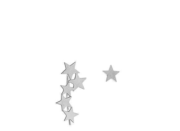 Orecchini 5 stelle e stella singola argento