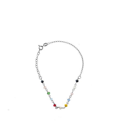 Bracciale con perle colorate argento