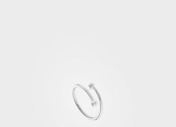 Anello a giro doppia sfera argento