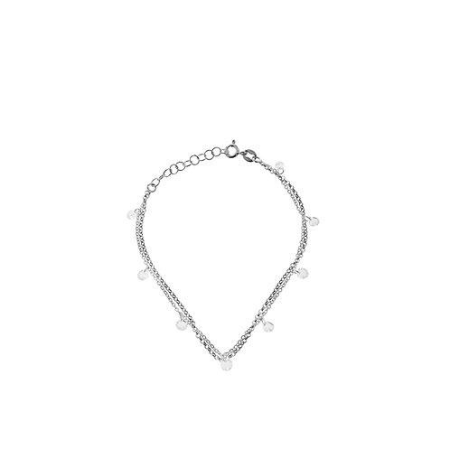 Bracciale doppia catena e zirconi argento