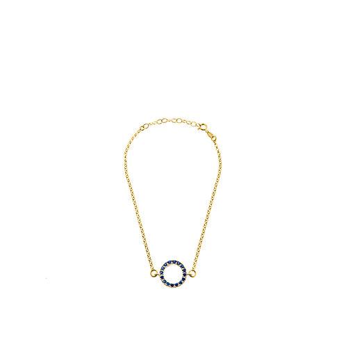 Bracciale oro anello con zirconi blu