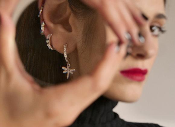 Ear cuff sottile zirconi colorati argento
