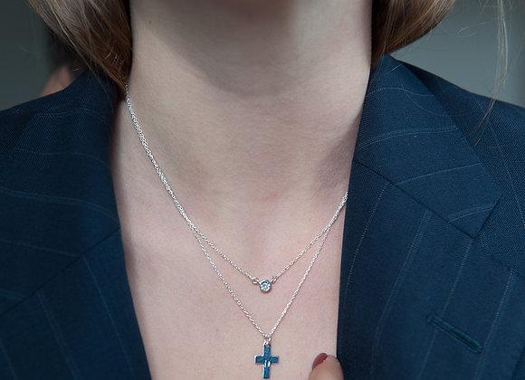 Collana doppia catena croce con zircone