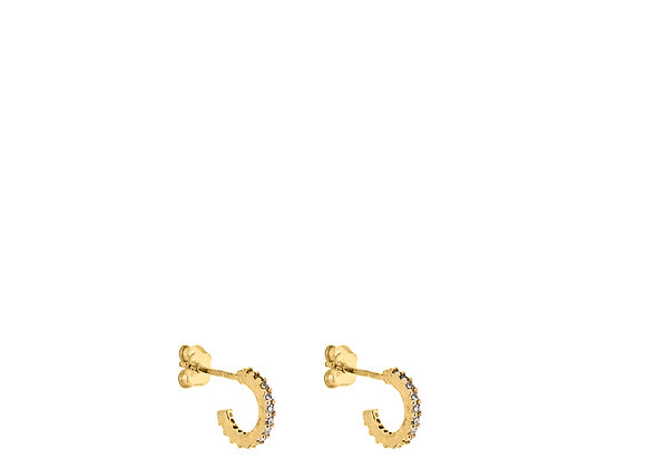Orecchini semicerchio con zirconi oro