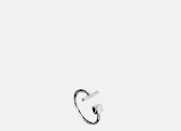 Anello cubo e barra argento