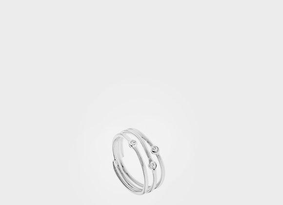 Anello triplo argento saldato con 3 zirconi