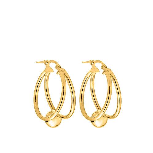 Orecchini anello doppio con perla oro