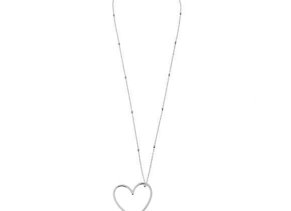 Collana cuore e catena a perline argento