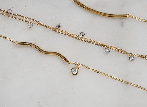 Bracciale doppia catena e zirconi oro