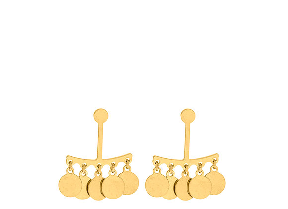 Orecchini 5 cerchi pendenti orizzontali oro