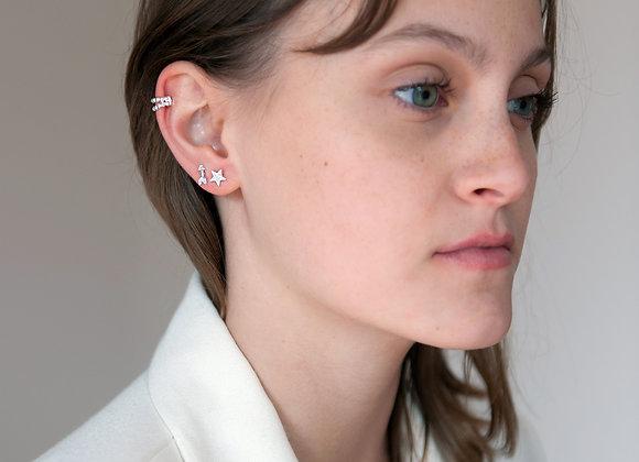 Ear cuff doppio pallini argento