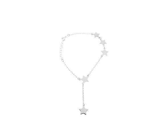 Bracciale con 4 stelle e una pendente argento