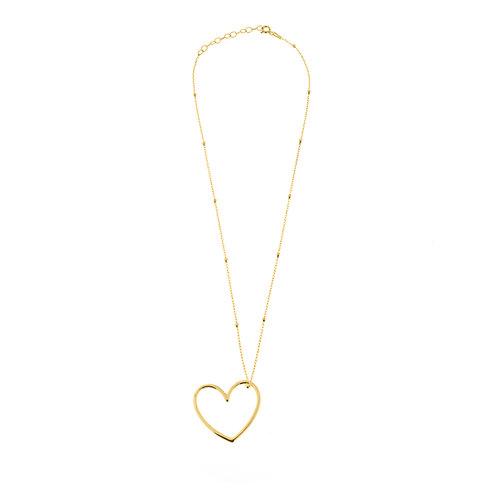 Collana cuore e catena a perline oro