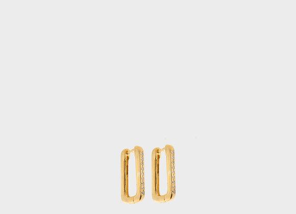 Orecchini rettangoli lavorati oro