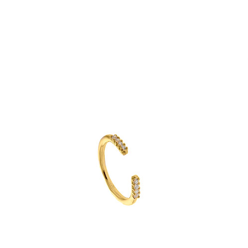 Anello oro semicerchio con 8 zirconi