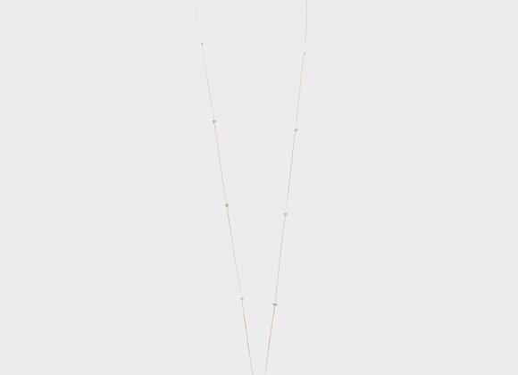 Collana lunga oro e perle bianche