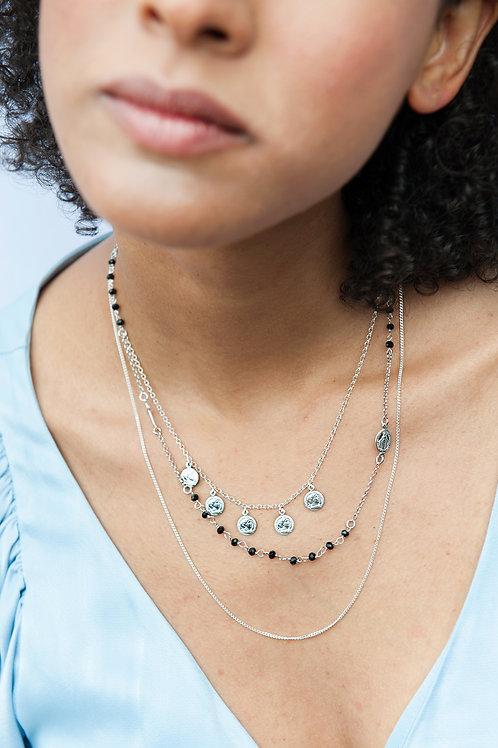 Collana perle nere e croce argento