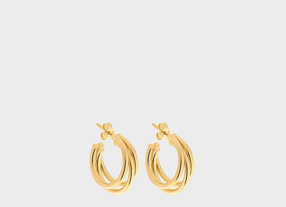 Orecchini triplo saldato grande oro