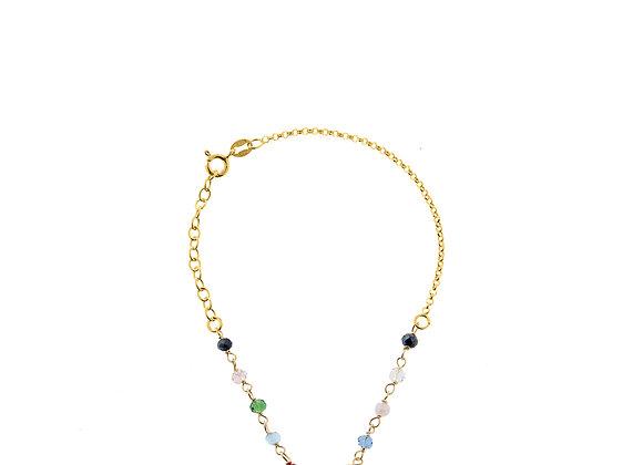 Bracciale con perle colorate oro