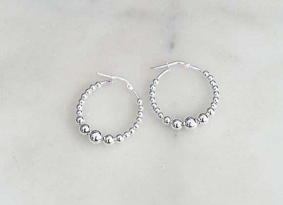 Orecchini anelli di perle argento