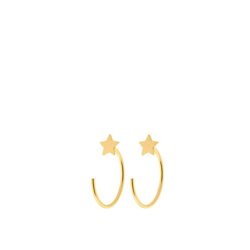 Orecchini semicerchi con stella saldata oro