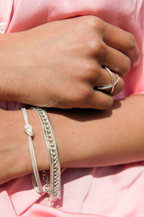 Bracciale doppio filo argento