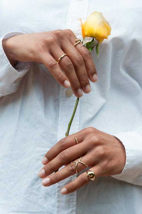 Anello zigrinato oro