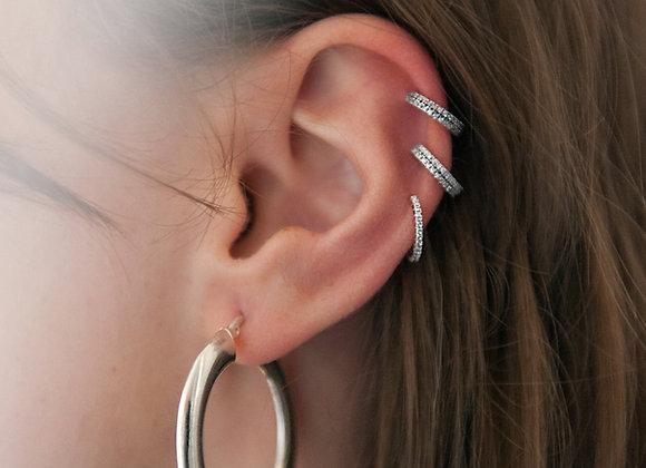 Ear cuff sottile lavorato argento