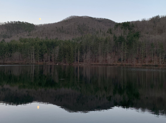 March Moonrise with Trout Rise over Lake Logan