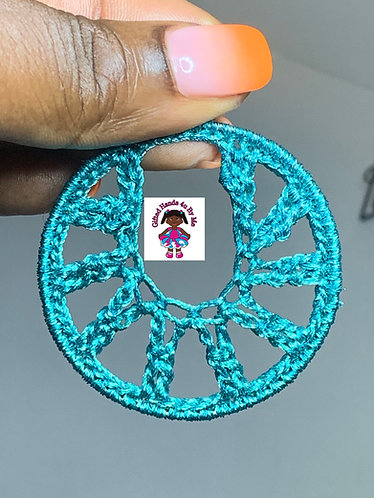 Turquoise blue metallic earrings medium