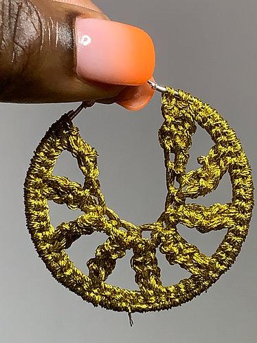 Mustard metallic earrings small
