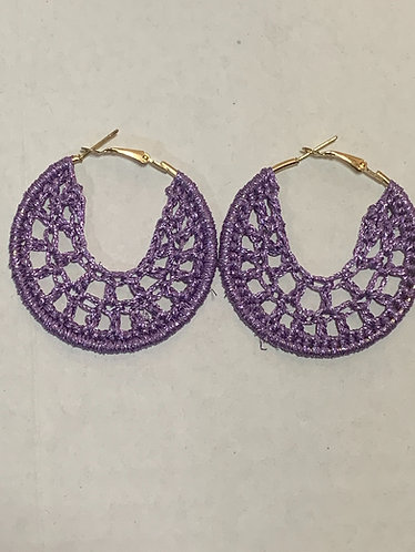 Small purple metallic earrings