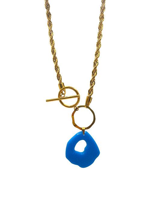 Atif gold aqua blue chain