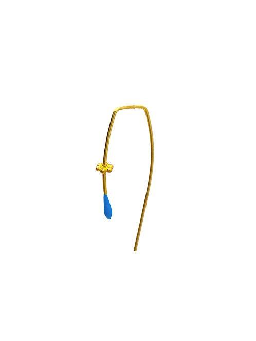 Desni aqua blue gold earring