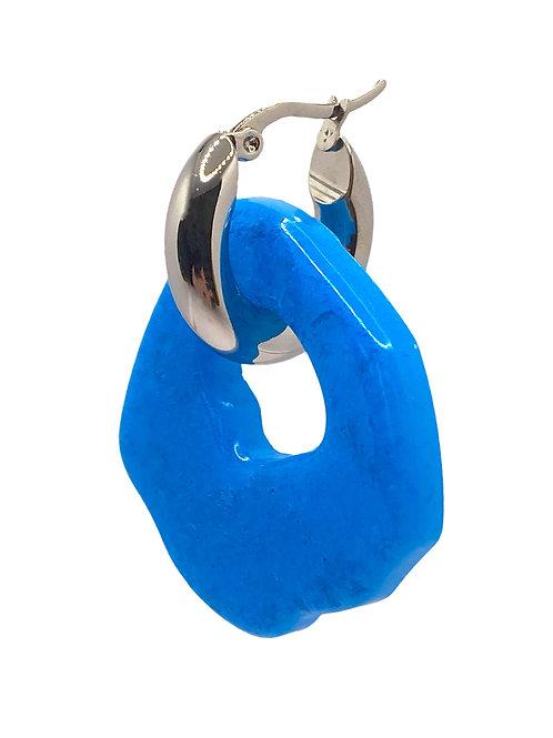 Abe silver blue earring