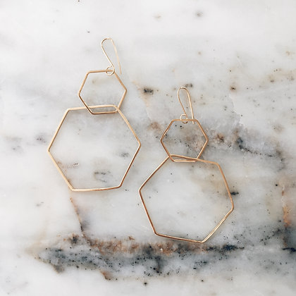 hexagon 14ct gold plated earrings