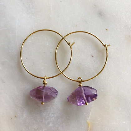gold amethyst hoops
