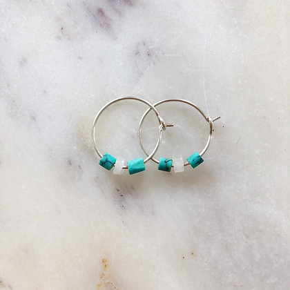 small silver rose quartz & turquoise hoops