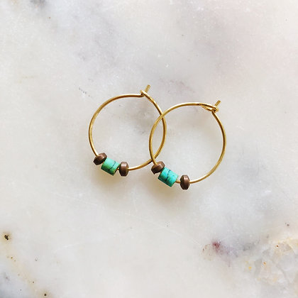 small gold turquoise hoops
