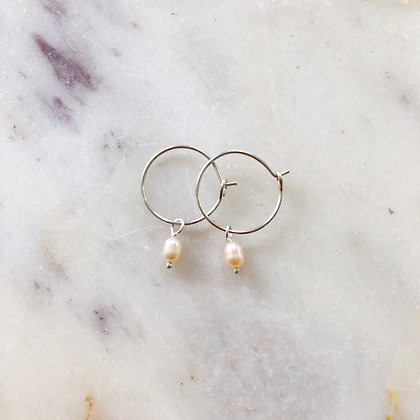 small silver pearl hoops