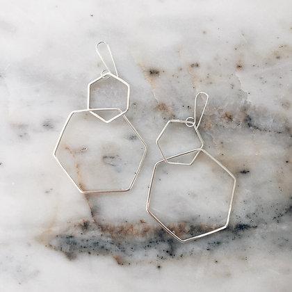 hexagon sterling silver earrings