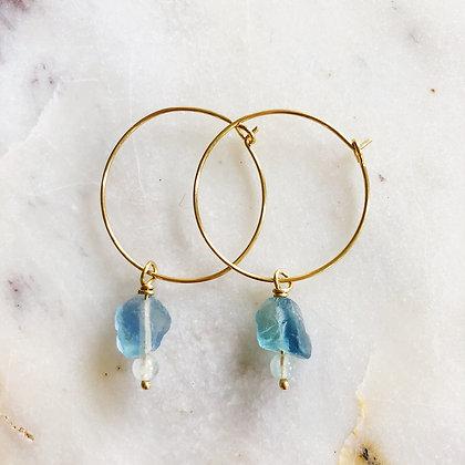 gold fluorite & aquamarine hoops
