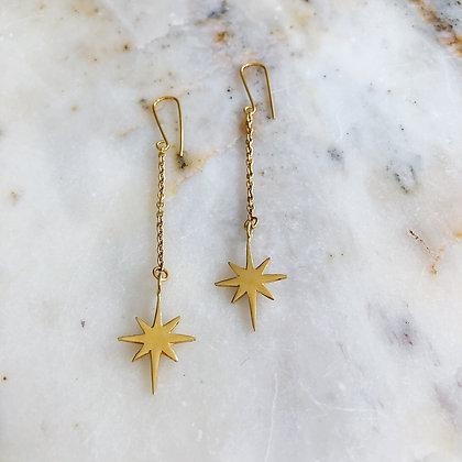 gold starburst drop earring