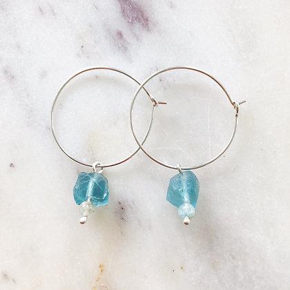 silver fluorite & aquamarine hoops