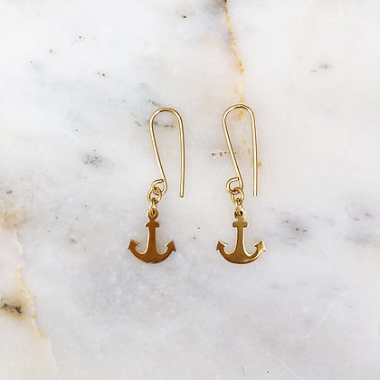 gold anchor me earrings